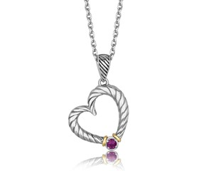 Round Amethyst Embellished Tapered Cable Style Heart Pendant in 18K Yellow Gold and Sterling Silver