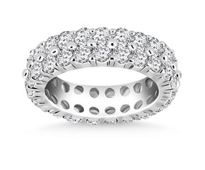 Dual Row Prong Set Round Diamond Eternity Ring in 14K White Gold