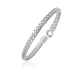 Fancy Weave Bangle in 14K White Gold (5.0mm)