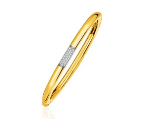 14K Gold and Diamond Domed Bangle Bracelet with Clasp (1/5 ct. tw.)