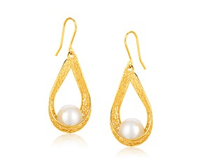 Cultured Pearl Teardrop Ribbon Earrings in 14K Yellow Gold
