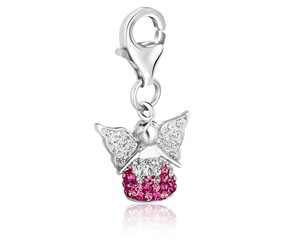 Angel White and Pink Tone Crystal Encrusted Charm in Sterling Silver