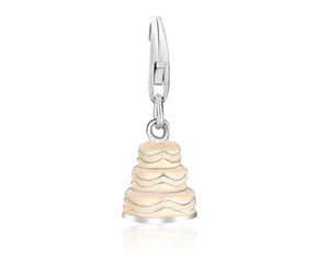 Wedding Cake White Enameled Charm in Sterling Silver