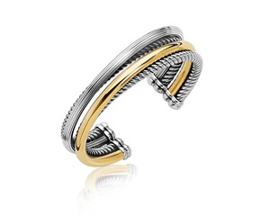 Cable and Polished Interlaced Style Open Bangle in 18K Yellow Gold and Sterling Silver