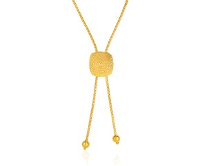 "14K Gold 26"" Adjustable Lariat Necklace with Textured Semi-Square Dome"