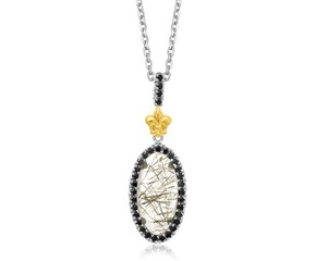Black Spinel and Rutilated Quartz Oval Fleur De Lis Pendant in 18K Yellow Gold and Sterling Silver