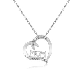 Diamond and MOM Accented Heart Pendant in Sterling Silver (.09 ct t.w.)