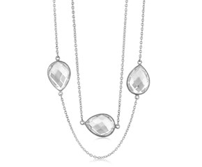 Long Teardrop Rock Crystal Stationed Necklace in Black and White Rhodium Plated Sterling Silver