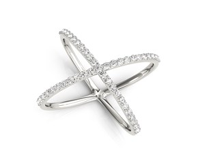 Diamond X Motif Ring in 14K White Gold (1/2 ct. tw.)
