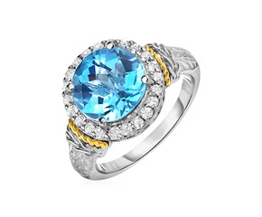 Round Blue Topaz and White Sapphire Ring in 18K Yellow Gold and Sterling Silver