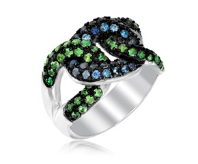 Tsavorite and Blue Sapphire Knot Style Ring in Sterling Silver