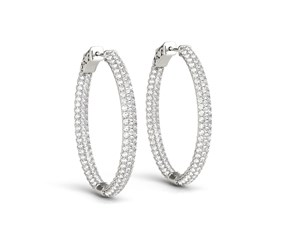 Double Sided Three Row Diamond Hoop Earrings in 14K White Gold (2 ct. tw.)