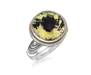 Round Milgrained Lemon Quartz Ring in 18K Yellow Gold and Sterling Silver