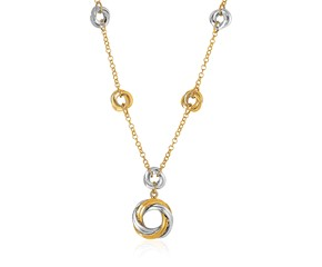 "14K Gold 17"" Two-Tone Yellow and White Gold Swirl Motif Necklace"