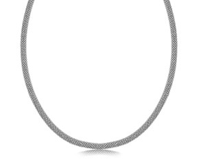 Popcorn Style Necklace in Rhodium Plated Sterling Silver