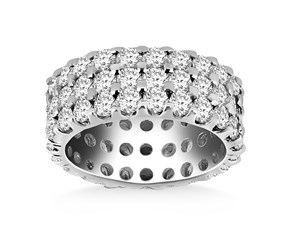Tri Row Prong Set Round Diamond Eternity Ring in 14K White Gold