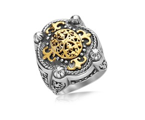 Four Prong Oval Filigree Ring in 18K Yellow Gold and Sterling Silver