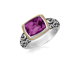 Rectangular Amethyst Ring in 18K Yellow Gold and Sterling Silver