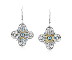 Blue Topaz Quatrefoil Earrings with Diamonds in Sterling Silver and 14K Yellow Gold