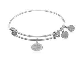Expandable White Tone Brass Bangle with Southern Belle Symbol