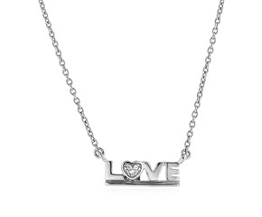 "Sterling Silver ""Love"" Pendant with Diamond"