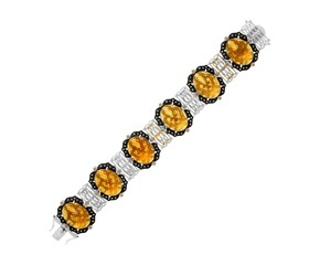 Citrine, Whiskey Quartz, and Diamond Accented Bracelet in 18K Yellow Gold and Sterling Silver
