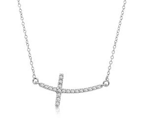 Curved Cross Diamond Studded Necklace in 14K White Gold (.21ct tw)