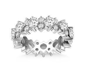 Floral Round Diamond Eternity Ring in 14K White Gold