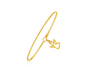 14K Yellow Gold Bangle with Angel Silhouette Charm
