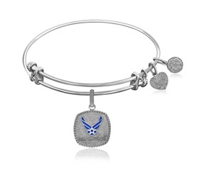Expandable White Tone Brass Bangle with Enamel U.S. Air Force Symbol