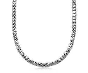 Wheat Chain Men's Necklace in Oxidized Sterling Silver