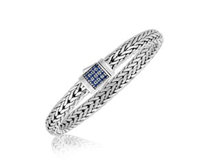 Blue Sapphire Embellished Men's Braided Style Bracelet in Sterling Silver