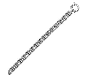 Classic Byzantine Chain Bracelet in Rhodium Plated Sterling Silver