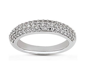 Triple Row Micro- Pave Diamond Wedding Ring Band in 14K White Gold