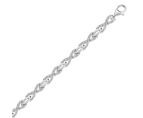 Diamond Accented X and Oval Link Bracelet in Sterling Silver (.15 ct t.w.)