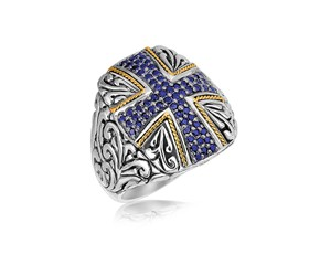 Blue Sapphire Accented Cross Motif Rectangular Ring in 18K Yellow Gold and Sterling Silver