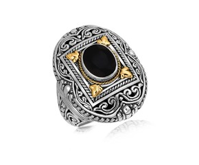 Rectangle Framed and Scrollwork Style Oval Black Onyx Ring in 18K Yellow Gold and Sterling Silver