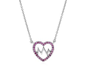 Sterling Silver Heart Pendant with Rhodolite