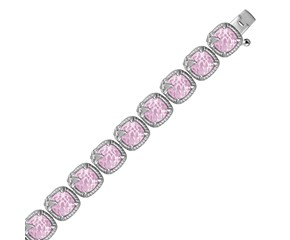 Fancy Bracelet with Square Pink Amethyst and White Sapphire Embellished Fleur De Lis in Sterling Silver