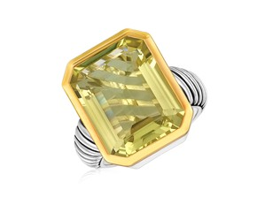 Emerald Cut Lemon Quartz Cable Style Ring in 18K Yellow Gold and Sterling Silver