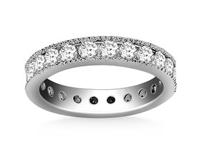 Milgrained Channel Set Round Cut Diamond Eternity Ring in 14K White Gold