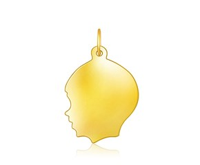 Large Boy Head Charm in 14K Yellow Gold