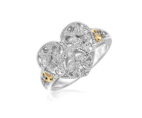 Filigree Heart Ring with Diamonds in Sterling Silver and 14K Yellow Gold
