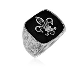 Fleur De Lis Black Spinel Men's Ring in Sterling Silver