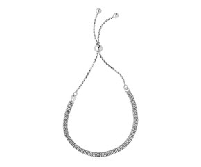 Adjustable Box Chain Style Draw String Bracelet in Sterling Silver