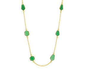 Geometric Green Onyx Station Long Necklace in Yellow Gold Plated Sterling Silver