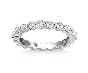 Petite Common Prong Round Diamond Eternity Ring in 14K White Gold