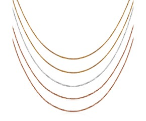 5-Strand Box Style Chain Necklace in Multi Color Sterling Silver