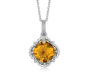 Cushion Whisky Quartz and Diamond Rope Motif Pendant in 18K Yellow Gold and Sterling Silver