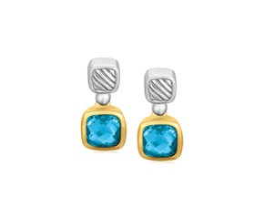 Cushion Blue Topaz Drop Earrings in 18K Yellow Gold and Sterling Silver